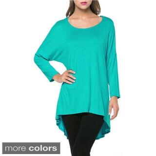 Tabeez Women's 3/4 Sleeve Scoop Neck Tunic Top