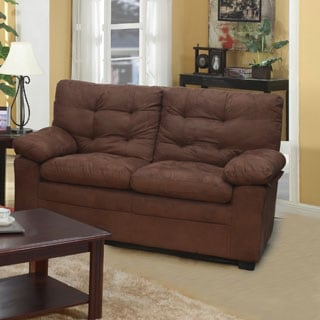 Chocolate Microfiber Tufted Love Seat