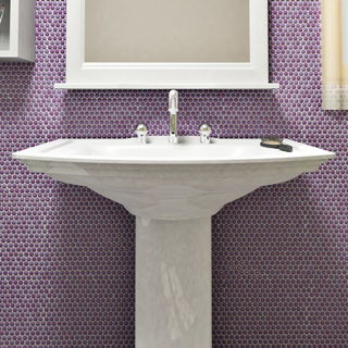 SomerTile 11.25 x 11.75-inch Asteroid Penny Round Purple Mosaic Porcelain Floor and Wall Tile (Pack of 10)