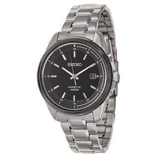 Seiko Men's SKA679 Stainless Steel Black Dial Kinetic Watch
