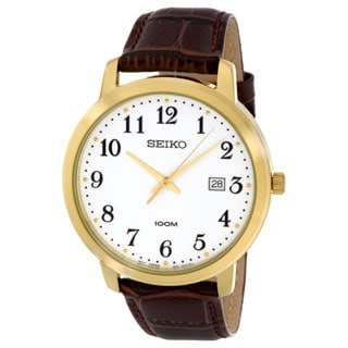Seiko Men's SUR114 Gold Tone Stainless Steel with a Brown Leather Strap Watch