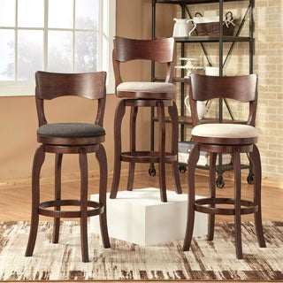 Napoleon Swivel 29-inch Brown Oak Bar Height Linen Barstool