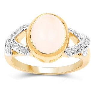Olivia Leone 14k Goldplated Sterling Silver White Moonstone Topaz Ring