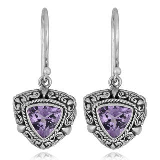 Sterling Silver Amethyst 'Trillion Touch' Dangle Earrings (Indonesia)