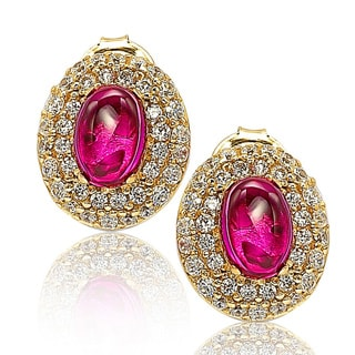 Suzy Levian 18k Gold Sterling Silver Gemstone Pave Stud Earrings