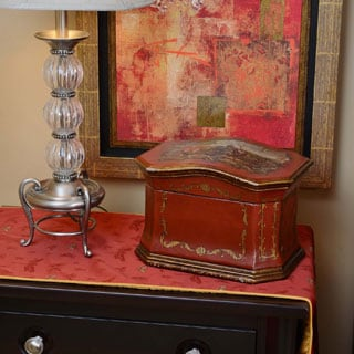 Life Chest Sicilian Small Hand-painted Deep Red Antique Bronze Hope Chest