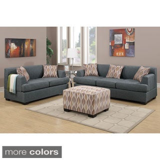 Poundex Farsund 2-piece Living Room Set in Blended Linen with matching Ottoman and Pillows