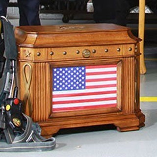American Flag Oak Finish Patriot Life Chest