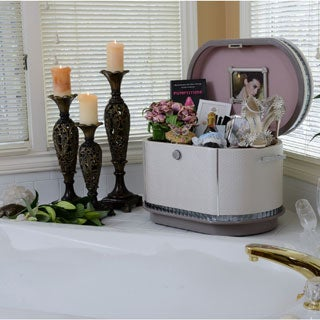 Life Chest Glamour Cream Quilted Crystal and Mirror Accents Hope Chest