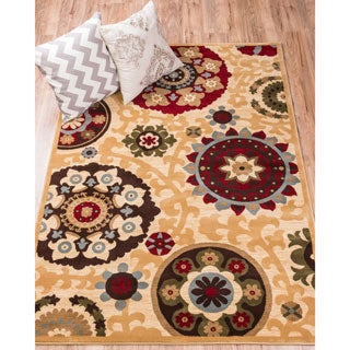Well Woven Sublime Lines Pop Suzani Floral Ivory, Red, Blue, Green, and Beige Polypropylene Rug (7'10 x 10'6 )