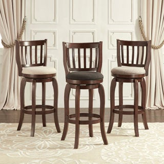 29 Inch Black Finish Swivel Bar Stool Chairs Set Of Two