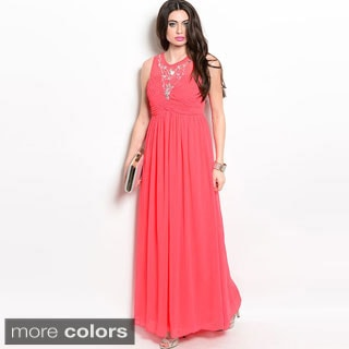 Shop The Trends Women's Sleeveless Embellished Long Chiffon Dress