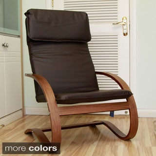 International Caravan Stockholm Contemporary Bentwood Lounge Chair with Faux Leather Seat