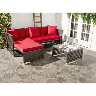 Safavieh Likoma Brown Rattan Red Cushion/ Pillow Black Piping Wicker 3-piece Outdoor Set