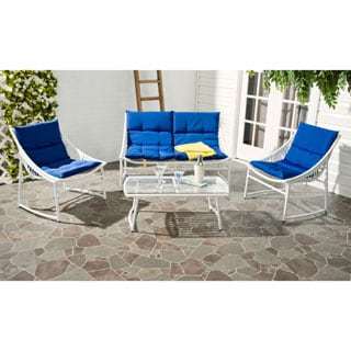 Safavieh Berkane White Rattan and Navy fabric 4-piece Outdoor Set