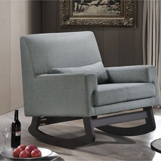 Imperium Wood And Fabric Contemporary Rocking Chair with Pillow in Grey
