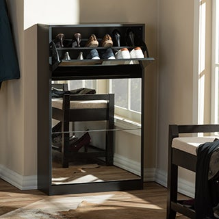 Albany Wood Shoe Storage Cabinet with Mirror In Black