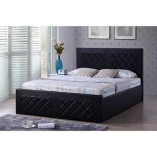 Black Faux Leather Platform Bed