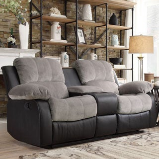 TRIBECCA HOME Coleford Two-tone Grey Black Tufted Double Reclining Loveseat with Storage Console
