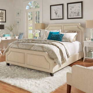 INSPIRE Q Harlow Arched Panel Nailhead Beige Linen Upholstered Queen-size Bed with Footboard