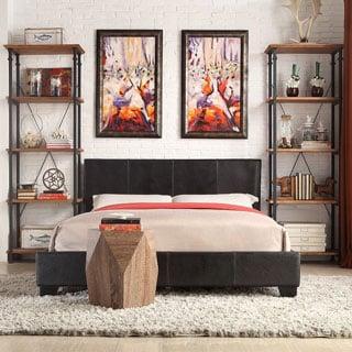 Tuscany Villa Dark Brown Bonded Upholstered King-size Bed