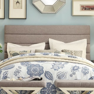 INSPIRE Q Corbett Horizontal Striped Gray Linen Upholstered King-size Headboard