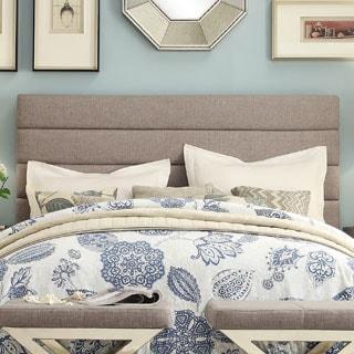 TRIBECCA HOME Corbett Horizontal Striped Gray Linen Upholstered King-size Headboard