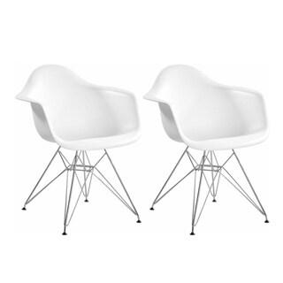 Mod Made Paris Tower Chrome Leg Arm Chair (Set of 2)