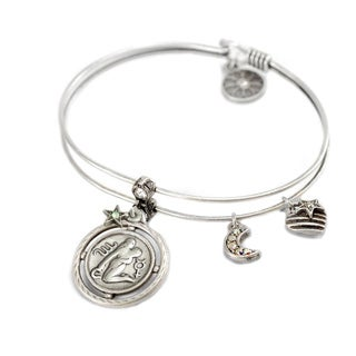 Sweet Romance Zodiac Sign Astrology Silver Bangle Bracelet