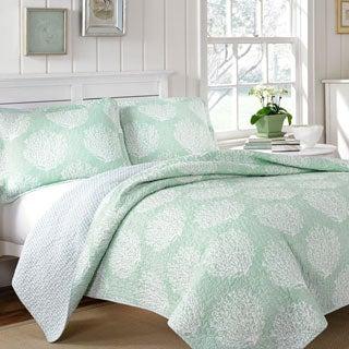 Laura Ashley Coral Coast Mist Reversible 3-piece Cotton Quilt Set