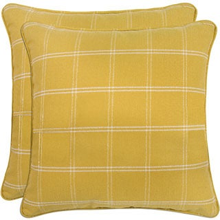 Better Living Yellow Windowpane Plaid 20-inch Decorative Feather Down Accent Pillow (Set of 2)