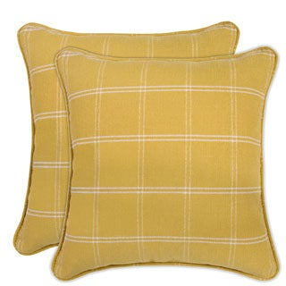 Better Living Yellow Windowpane Plaid 18-inch Decorative Feather Down Accent Pillow (Set of 2)