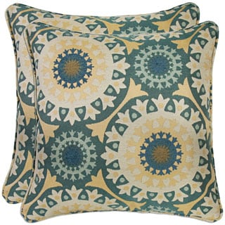 Better Living Turquoise Circles 20-inch Decorative Feather Down Accent Pillow (Set of 2)