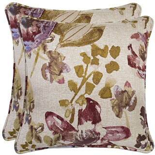 Better Living Floral and Bird 20-inch Decorative Feather Down Accent Pillow (Set of 2)