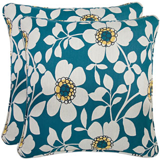Better Living Blue Floral 20-inch Decorative Feather Down Accent Pillow (Set of 2)