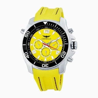 Gianello Men's Stitched Silicone Swiss Multi-Function Divers Watch