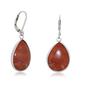 Gioelli Designs Sterling Silver 15mm x 20mm Orange Aventurine Dangle Earrings