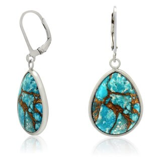 Gioelli Designs Sterling Silver 15mm x 20mm Copper Turquoise Blue Dangle Earrings