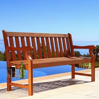 5-foot Malibu Wood Garden Bench with Speaker, Bottle Opener, Bottle Holders and Magazine Rack