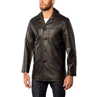 Men's Leather Button Front Car Coat