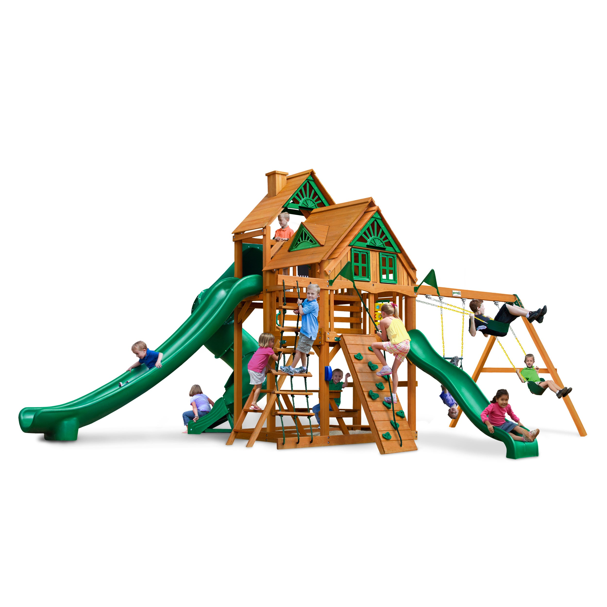Gorilla Playsets Great Skye II Treehouse Swing Set with Amber Posts