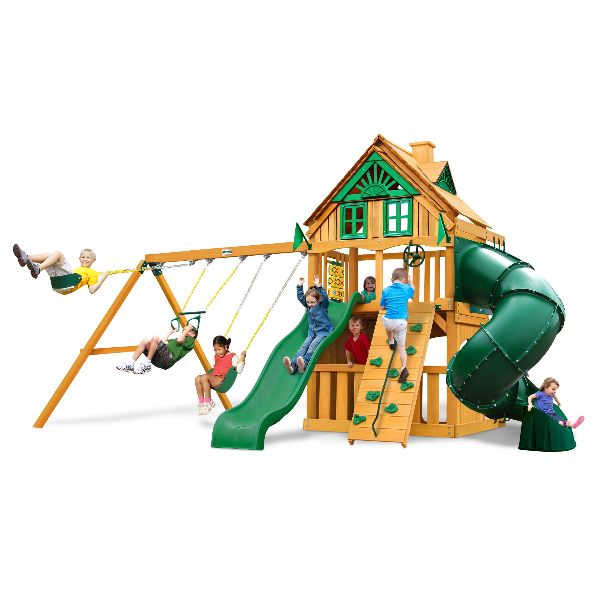 Gorilla Playsets Mountaineer Clubhouse Treehouse Swing Set with Amber Posts