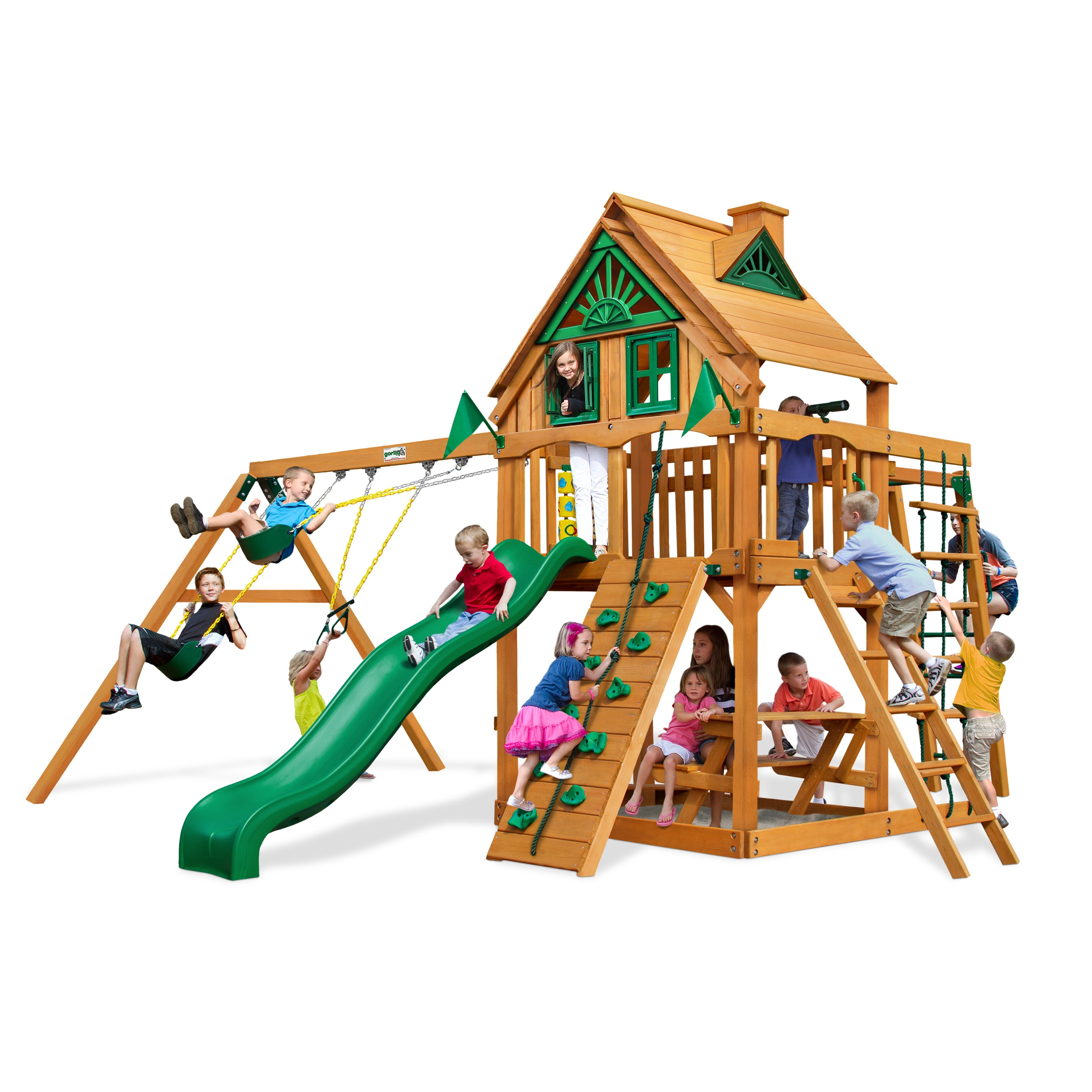 Gorilla Playsets Navigator Treehouse Swing Set with Amber Posts