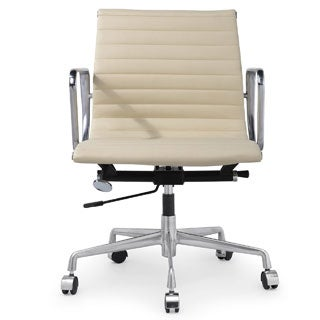 Quattro Cream Aniline Leather Modern Office Chair with Pressed Ribbing