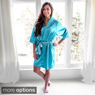 Personalized Aqua Satin Robe