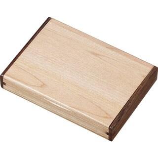 Durmast Natural Maple Wood and Walnut Desktop Business Card Case