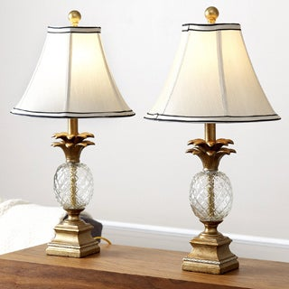 ABBYSON LIVING Alexandra Antiqued Gold Pineapple Table Lamps (Set of 2)