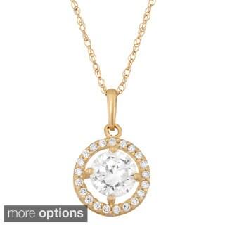 10k Gold Round-cut Cubic Zirconia Pendant Necklace