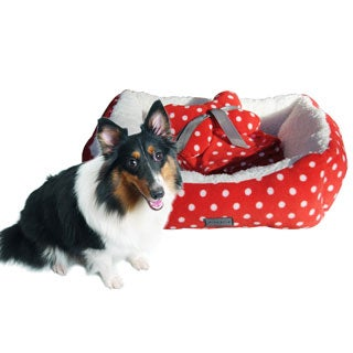 drowzzzy Polka Dots Print 3-piece Plush Bolster Pet Bed, Blanket and Toy Gift Set