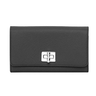Prada Black Saffiano Wallet with Leather and Chain Strap
